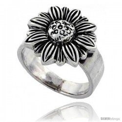 Sterling Silver Large Sunflower Ring 5/8 in wide -Style Tr581