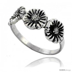 Sterling Silver Triple Sunflower Ring 5/16 in wide