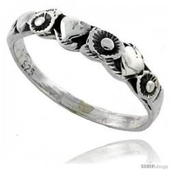 Sterling Silver Heart & Flower Link Ring 3/16 in wide