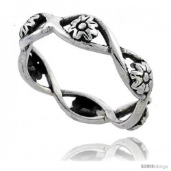 Sterling Silver Flower Link Ring 1/4 in wide