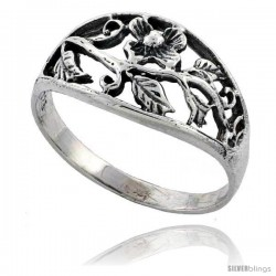 Sterling Silver Flower Vine Ring 7/16 in wide