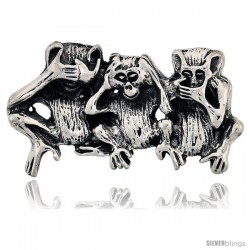 Sterling Silver Three Wise Monkeys Brooch Pin, 1 3/4 in (46 mm) wide