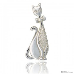 "Sterling Silver Whimsical Sitting Cat Brooch Pin, 2 1/4"" (58 mm) tall"