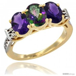 10K Yellow Gold Natural Mystic Topaz & Amethyst Sides Ring 3-Stone Oval 7x5 mm Diamond Accent
