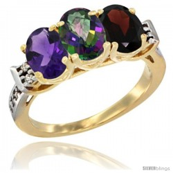 10K Yellow Gold Natural Amethyst, Mystic Topaz & Garnet Ring 3-Stone Oval 7x5 mm Diamond Accent