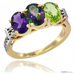 10K Yellow Gold Natural Amethyst, Mystic Topaz & Peridot Ring 3-Stone Oval 7x5 mm Diamond Accent