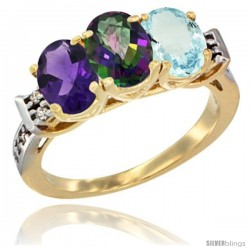 10K Yellow Gold Natural Amethyst, Mystic Topaz & Aquamarine Ring 3-Stone Oval 7x5 mm Diamond Accent