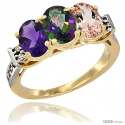 10K Yellow Gold Natural Amethyst, Mystic Topaz & Morganite Ring 3-Stone Oval 7x5 mm Diamond Accent