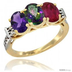 10K Yellow Gold Natural Amethyst, Mystic Topaz & Ruby Ring 3-Stone Oval 7x5 mm Diamond Accent