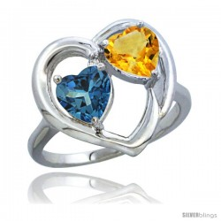 14k White Gold 2-Stone Heart Ring 6mm Natural London Blue Topaz & Citrine Diamond Accent