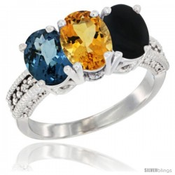 14K White Gold Natural London Blue Topaz, Citrine & Black Onyx Ring 3-Stone 7x5 mm Oval Diamond Accent
