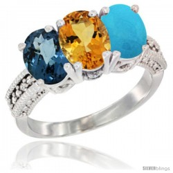 14K White Gold Natural London Blue Topaz, Citrine & Turquoise Ring 3-Stone 7x5 mm Oval Diamond Accent