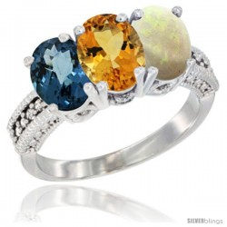 14K White Gold Natural London Blue Topaz, Citrine & Opal Ring 3-Stone 7x5 mm Oval Diamond Accent