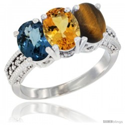 14K White Gold Natural London Blue Topaz, Citrine & Tiger Eye Ring 3-Stone 7x5 mm Oval Diamond Accent