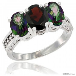 10K White Gold Natural Garnet & Mystic Topaz Sides Ring 3-Stone Oval 7x5 mm Diamond Accent