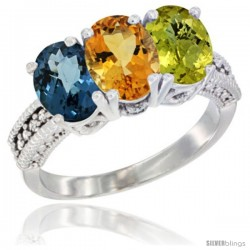 14K White Gold Natural London Blue Topaz, Citrine & Lemon Quartz Ring 3-Stone 7x5 mm Oval Diamond Accent