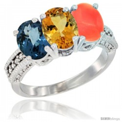 14K White Gold Natural London Blue Topaz, Citrine & Coral Ring 3-Stone 7x5 mm Oval Diamond Accent