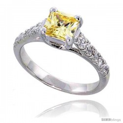 "Sterling Silver Vintage Style Engagement ring, w/ a 6mm (1.25 ct) Princess Cut Yellow Topaz-colored CZ Stone, 1/4"" (7 mm) wide"