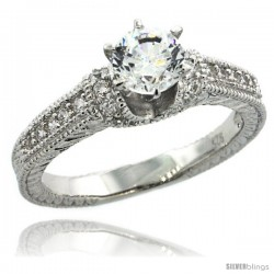 Sterling Silver Vintage Style Solitaire Engagement Ring w/ Brilliant Cut CZ Stones, 3/16 in. (5 mm) wide