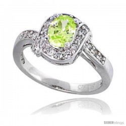 "Sterling Silver Vintage Style Engagement ring, w/ a 7 x 5 mm (.75 ct) Oval Cut Light Peridot-colored CZ Stone, 7/16"" (11 mm)"