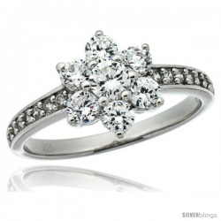 Sterling Silver Vintage Style Flower Cluster Engagement Ring w/ Brilliant Cut CZ Stones, 3/8 in. (10 mm) wide