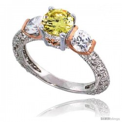 Sterling Silver Vintage Style Engagement ring, w/ two Clear 5mm (.5 ct) & one Yellow Topaz-colored 6mm (.75 ct) Round CZ