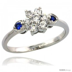 Sterling Silver Flower Engagement Ring w/ Brilliant Cut Clear & Blue Sapphire Color CZ Stones, 1/4 in. (7 mm) wide