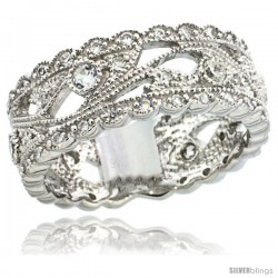 Sterling Silver Leaf Vine Cut Out Ring w/ Brilliant Cut CZ Stones, 5/16 in. (8 mm) wide