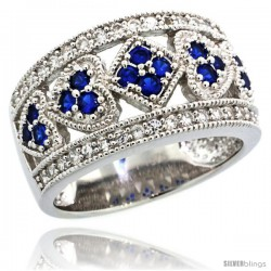 Sterling Silver Multi-Heart Dome Ring w/ Brilliant Cut Clear & Blue Sapphire Color CZ Stones, 1/2 in. (12 mm) wide