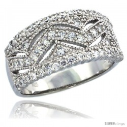 Sterling Silver Wave Pattern Ring Band w/ Brilliant Cut CZ Stones, 3/8 in. (10 mm) wide