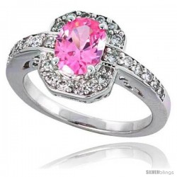 "Sterling Silver Vintage Style Engagement ring, w/ an 8 x 6 mm (1.25 ct) Oval Cut Pink-colored CZ Stone, 1/2"" (12 mm) wide"