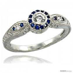 Sterling Silver Vintage Style Engagement Ring w/ Brilliant Cut Clear & Blue Sapphire Color CZ Stones, 1/4 in. (6.5 mm) wide