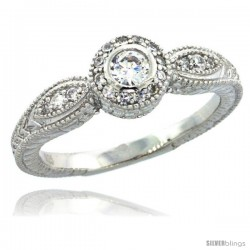 Sterling Silver Vintage Style Engagement Ring w/ Brilliant Cut CZ Stones, 1/4 in. (7 mm) wide