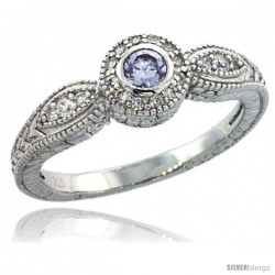 Sterling Silver Vintage Style Engagement Ring w/ Brilliant Cut Clear & Alexandrite (Center) CZ Stones, 1/4 in. (7 mm) wide