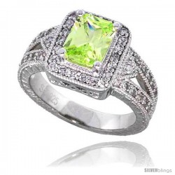 "Sterling Silver Vintage Style Engagement ring, w/ an 8 x 6 mm (1.5 ct) Emerald Cut Light Peridot-colored CZ Stone, 1/2"" (12 mm)"