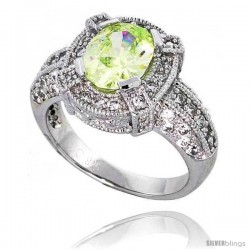 "Sterling Silver Vintage Style Engagement ring, w/ a 9 x 7 mm (2.0 ct) Oval Cut Light Peridot-colored CZ Stone, 9/16"" (14 mm)"