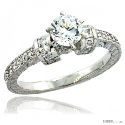 Sterling Silver Vintage Style Solitaire Engagement Ring w/ Brilliant Cut CZ Stones, 13/16 in. (5 mm) wide