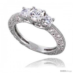 "Sterling Silver Vintage Style Engagement ring, w/ two 4mm (.25 ct) & one 5mm (.5 ct) Round CZ Stones, 3/16"" (5 mm) wide"
