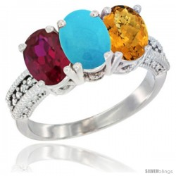 14K White Gold Natural Ruby, Turquoise & Whisky Quartz Ring 3-Stone Oval 7x5 mm Diamond Accent