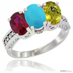 14K White Gold Natural Ruby, Turquoise & Lemon Quartz Ring 3-Stone Oval 7x5 mm Diamond Accent