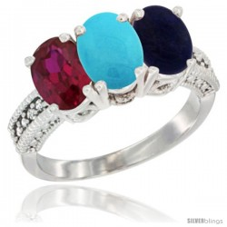 14K White Gold Natural Ruby, Turquoise & Lapis Ring 3-Stone Oval 7x5 mm Diamond Accent