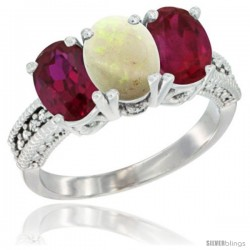 14K White Gold Natural Opal & Ruby Sides Ring 3-Stone 7x5 mm Oval Diamond Accent