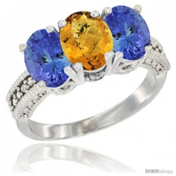 10K White Gold Natural Whisky Quartz & Tanzanite Sides Ring 3-Stone Oval 7x5 mm Diamond Accent