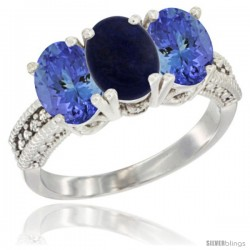 10K White Gold Natural Lapis & Tanzanite Sides Ring 3-Stone Oval 7x5 mm Diamond Accent