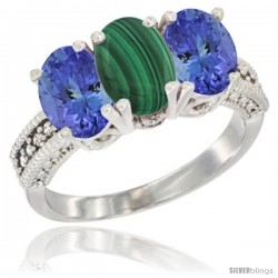 10K White Gold Natural Malachite & Tanzanite Sides Ring 3-Stone Oval 7x5 mm Diamond Accent