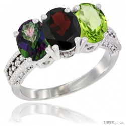 10K White Gold Natural Mystic Topaz, Garnet & Peridot Ring 3-Stone Oval 7x5 mm Diamond Accent