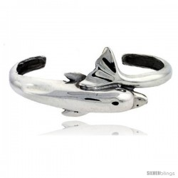 Sterling Silver High Polished Small Dolphin Bangle