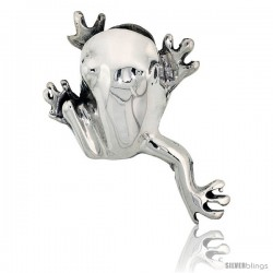 "Sterling Silver Happy Hopper Frog Brooch Pin, 1 7/8"" (48 mm) tall"