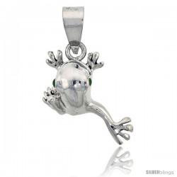 "Sterling Silver Hopping Frog Pendant, 1 1/4"" (32 mm) tall"