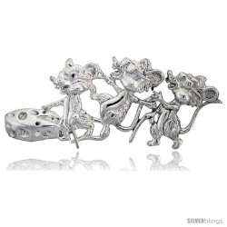 "Sterling Silver Three Blind Mice Brooch Pin, 2 7/8"" (73 mm) wide"